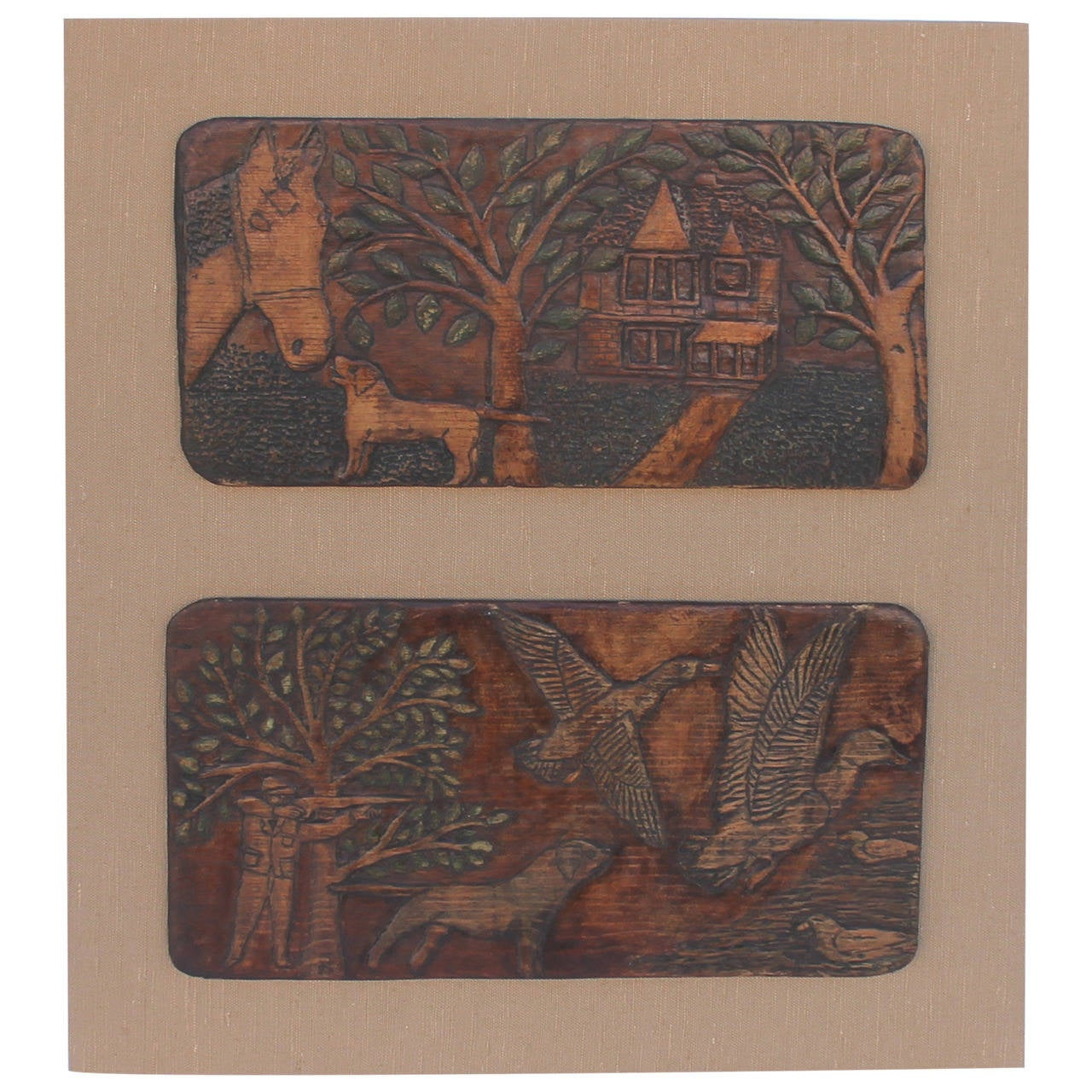 Pair of Folk Carved and Painted Wood Plaques on Board