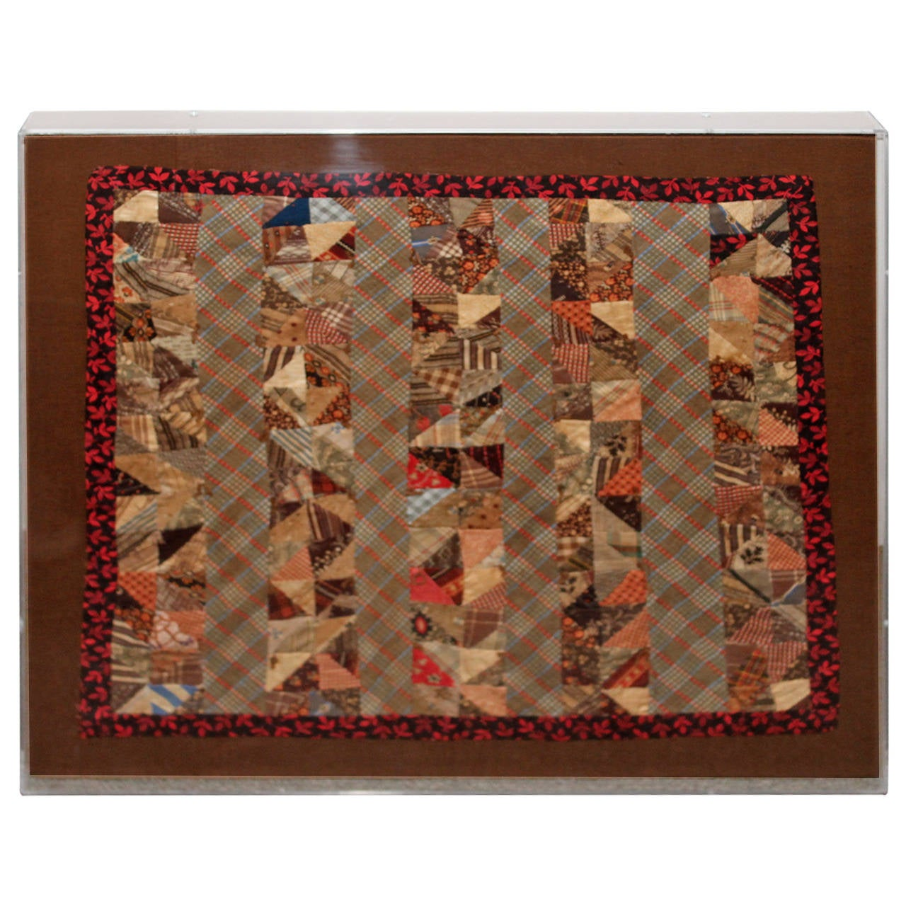 19th Century Early Mini Pieced Doll Quilt in Plexy Box For Sale