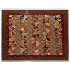 19th Century Early Mini Pieced Doll Quilt in Plexy Box