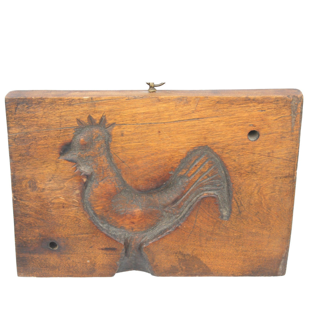 Hand-Carved Early 19th Century Folky Wood Rooster Mold