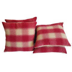 Raspberry and Cream Wool Pendleton Blanket Pillows