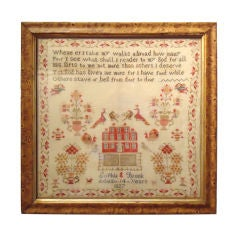 Dated 1827 Schoolgirl Sampler In Original Paint Decorated Frame