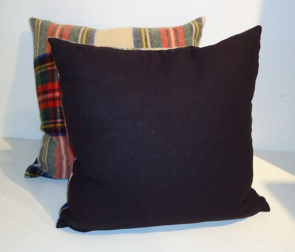 1930'S WOOL SCOTTISH PLAID BLANKET PILLOWS W/BLACK LINEN BACKING image 3