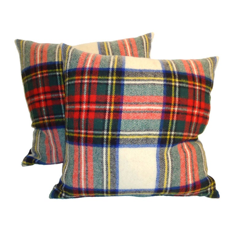 1930'S WOOL SCOTTISH PLAID BLANKET PILLOWS W/BLACK LINEN BACKING