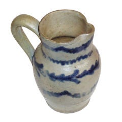 Rare & Early 19thc Decorated Salt Glaze Stoneware Pitcher/penna.