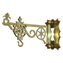 19th Century Rare New England Brass Wall Bracket with Hearts & Stars