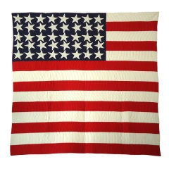 Rare & Folky 40 Star Flag Quilt From Pennsylvania  Collection