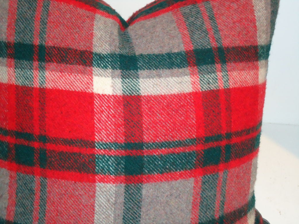 Grey Wool Throw Pillow : Red ,grey,green Wool Plaid Blanket Pillows For Sale at 1stdibs