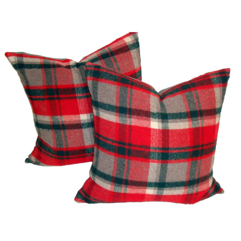 Red ,grey,green Wool Plaid Blanket Pillows For Sale at 1stdibs