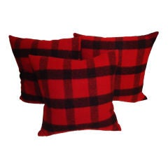 Red & Black Wool Plaid Blanket Pillows  W/linen Backing