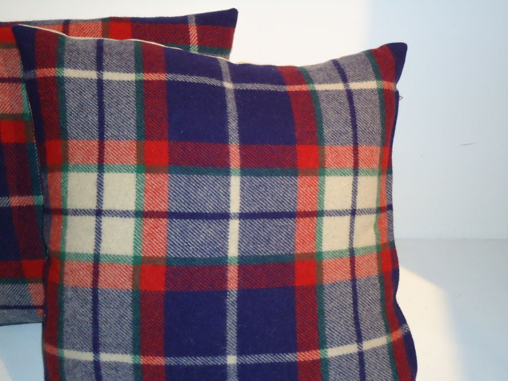 Wool Blue And Red With Cream Plaid Pillows Linen On Back Is