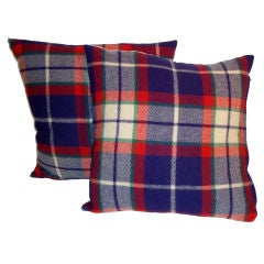 Blue & Red W/Cream Wool Plaid Blanket Pillows