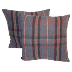 Plaid Blanket Pillows W/grey Linen Back
