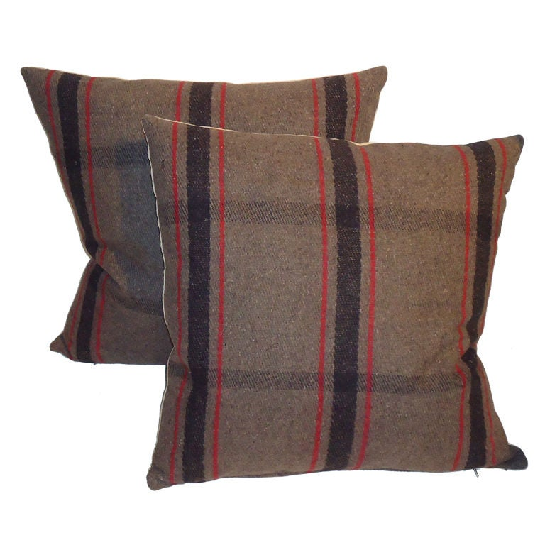 1930 s Brown and Red Plaid Blanket Pillows W/tan Linen Back For Sale at 1stdibs