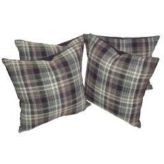 Early Pendleton Grey Plaid Wool Pillows