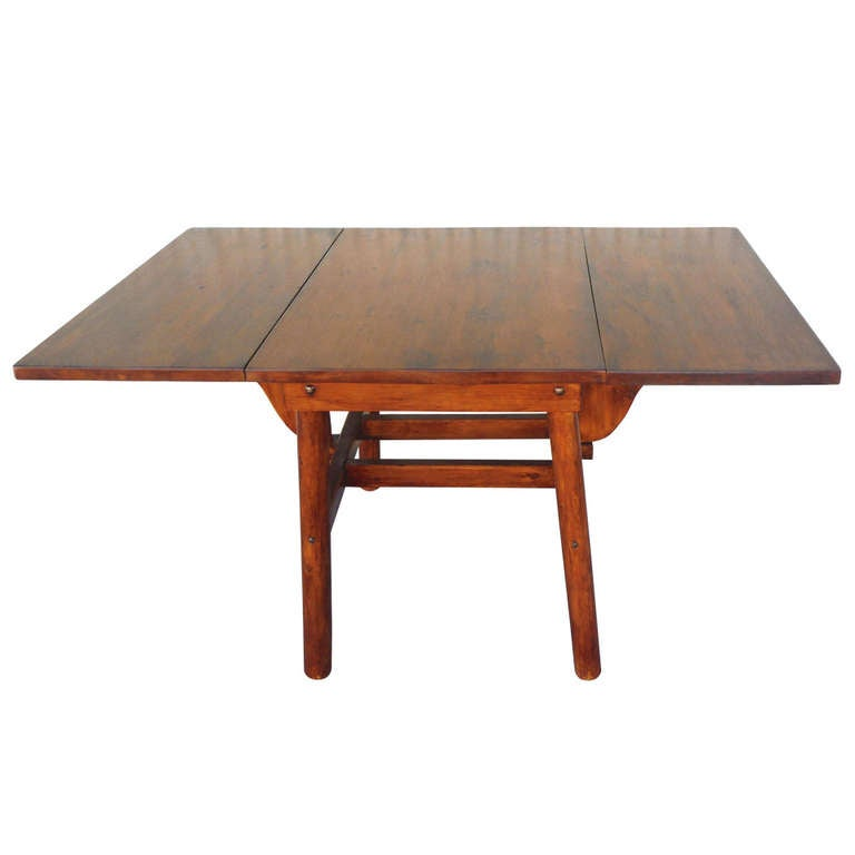 Signed rittenhouse furniture rustic drop leaf dining table for Drop leaf dining table