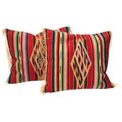 Pair of Early & Rare  Hand Woven Mexican  Serape Pillows