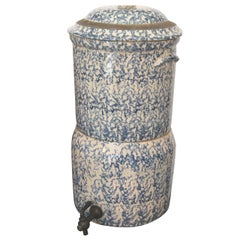 Rare 19th Century Two-Piece Sponge Ware Water Cooler