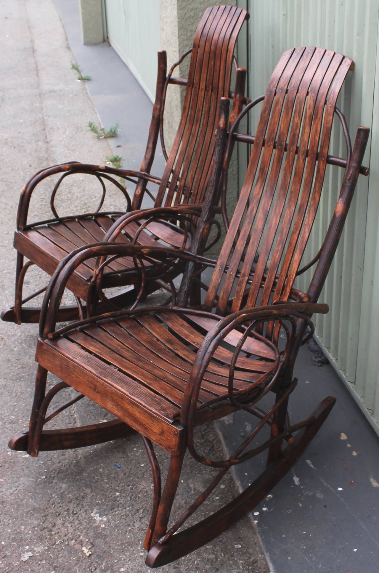 This Pair Of Amish Twig Rocking Chairs Are In Amazing As Found Condition.  These Chairs