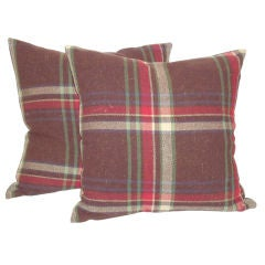 Early 20thc Wool Plaid Blanket Pillows W/linen Backing