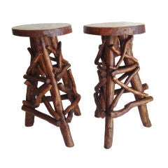 Pair Of Folky  Rustic Early 20thc   Handmade Bar Stools