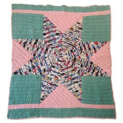 Folky Small Pieced Eight Point Star Quilt from Ohio