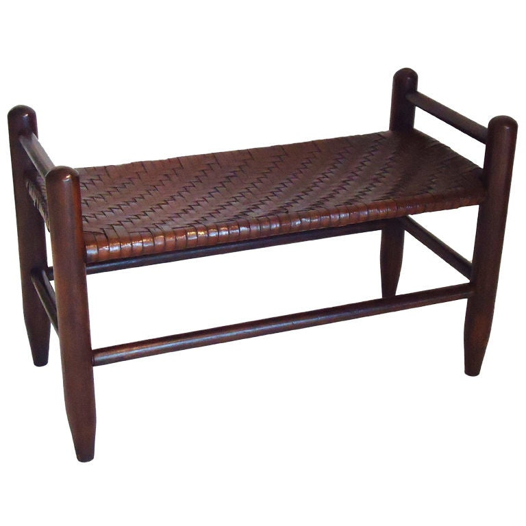 Early 20thc Small Bench W Hand Woven Seat At 1stdibs