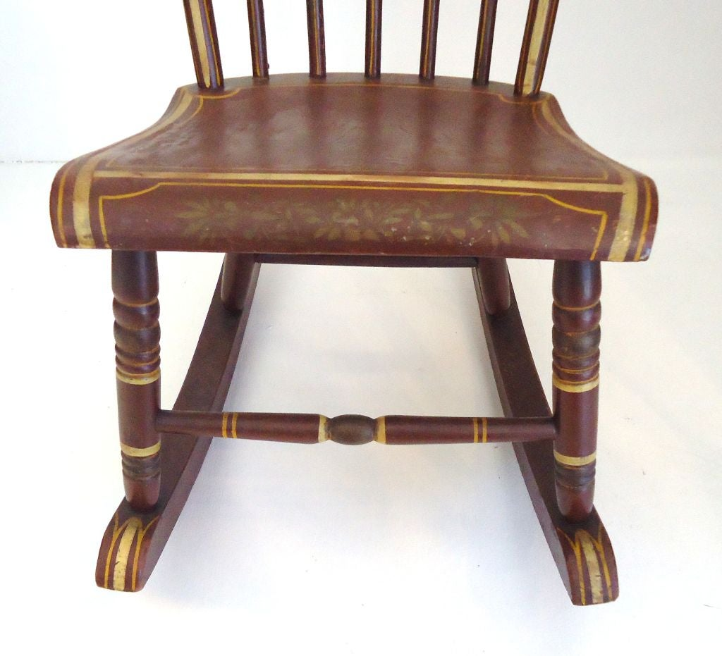 Amazing photo of 19thc Original Paint Decorated Rocking Chair From Pennsylvania image 6 with #956E36 color and 1024x931 pixels