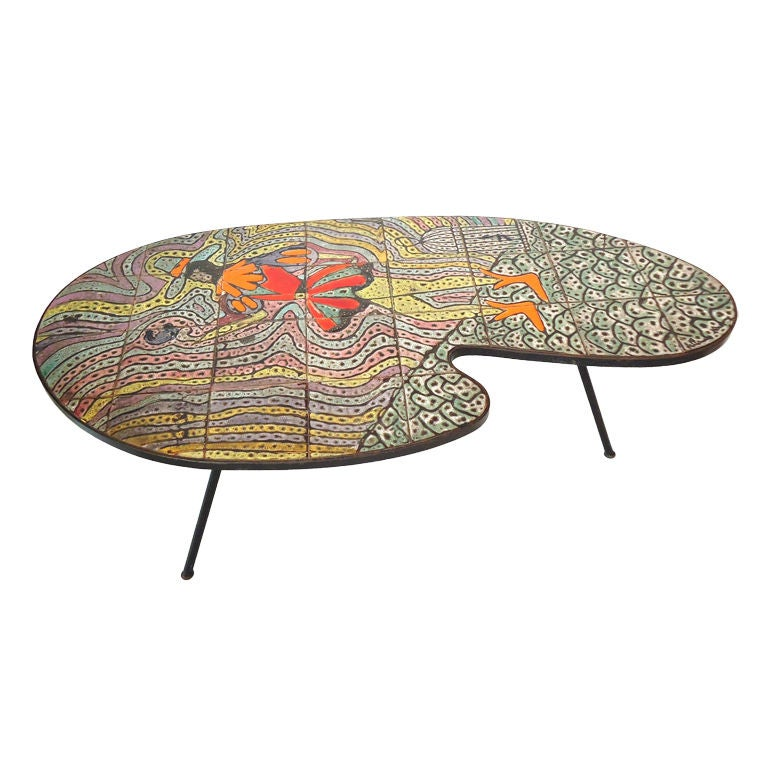 Funky Midcentury Tile Top Table From France 1960 S At