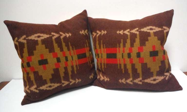 Early Wool Pendleton Indian Design Camp Blanket Pillows