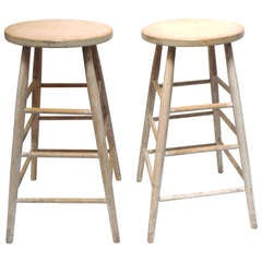 Early 19th Century Original White Painted Shaker Style Tall Bar Stools