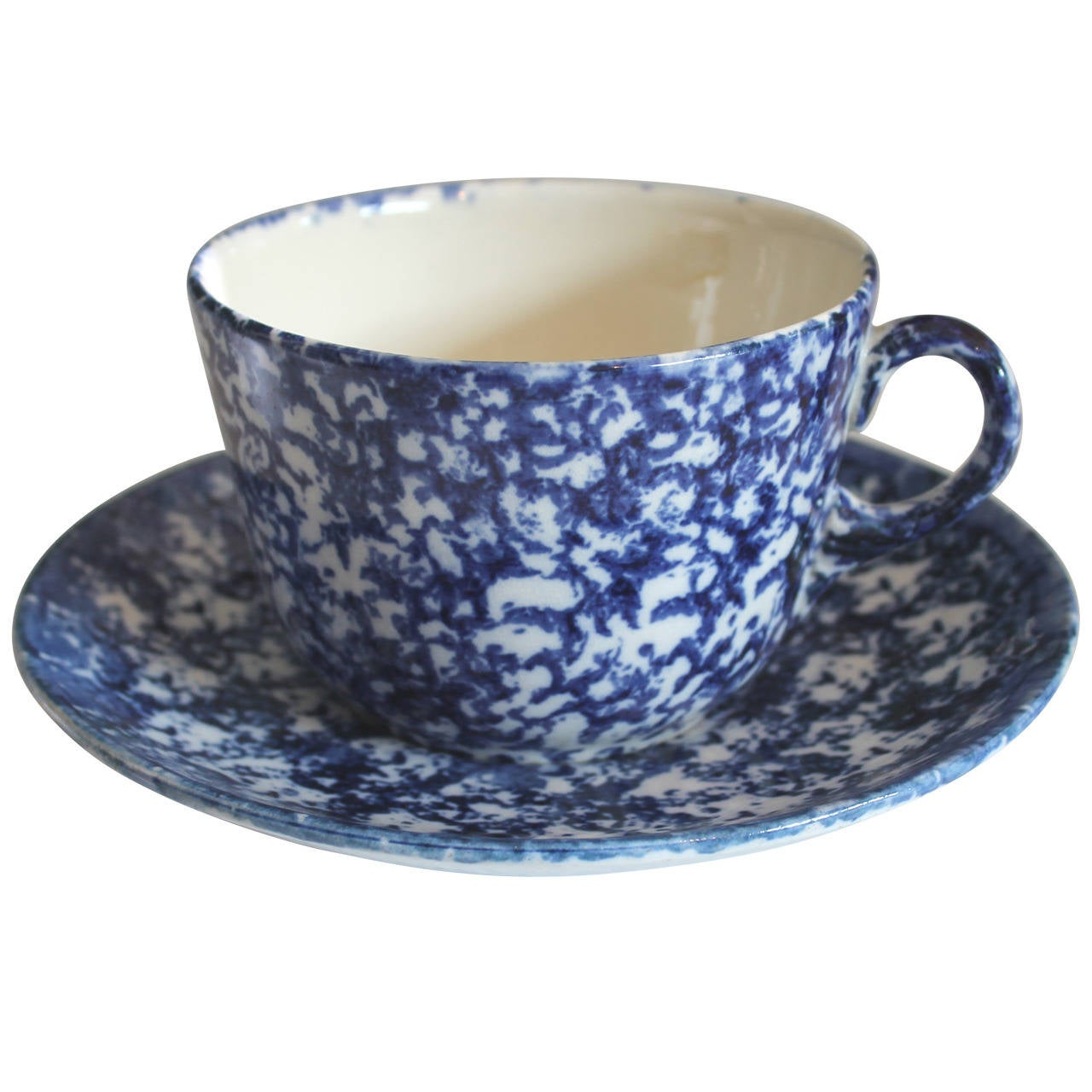 Large 19th Century Spongeware Mush Cup and Saucer