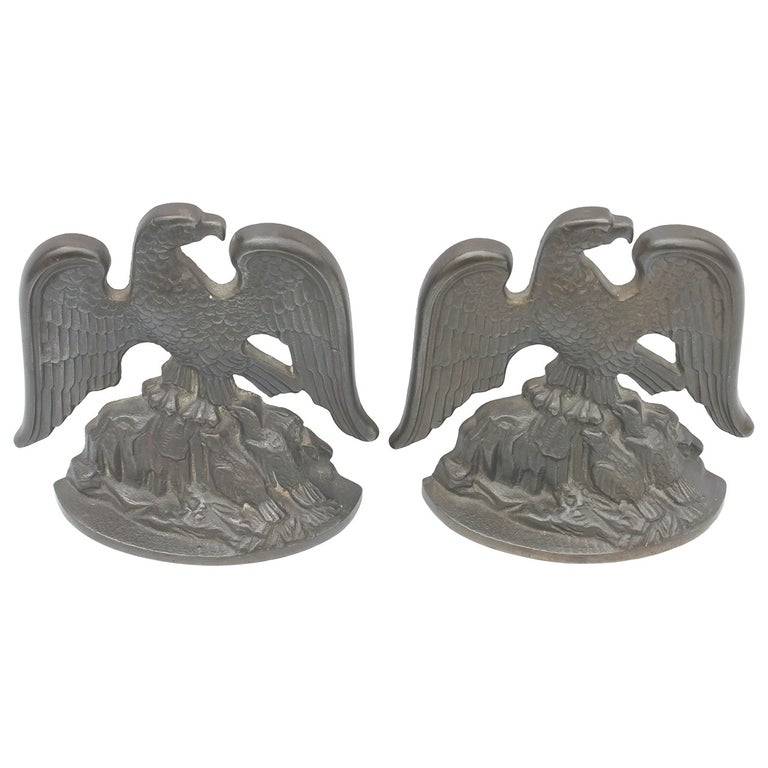 Bronze Eagle Bookends Signed and Dated, 1931 For Sale