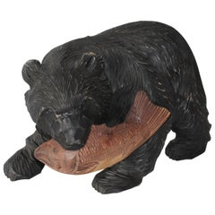 Large Hand-Carved and Painted Wood Black Bear Sculpture