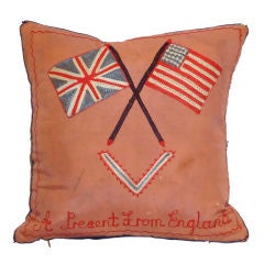 Early 20thc Patriotic Enland & Us Cross Flags Pillow