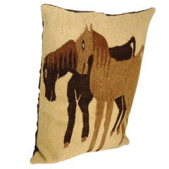 Indian  Hand Woven Saddle Blanket - Folky Horses Pillow