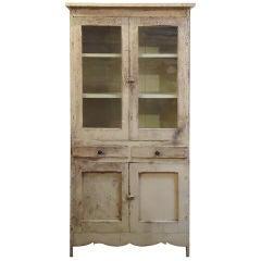 19thc Original Cream Painted Store Cabinet W/original Glass