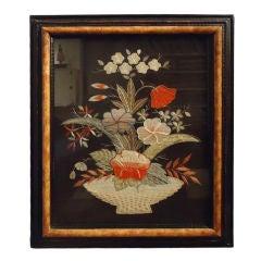 19thc Silk Hand Sewn Needlework In Custom Made Frame
