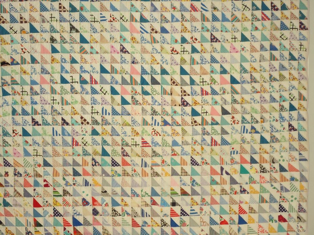 Folk Art Mounted 1930s Mini Pieced Flying Geese Crib Quilt