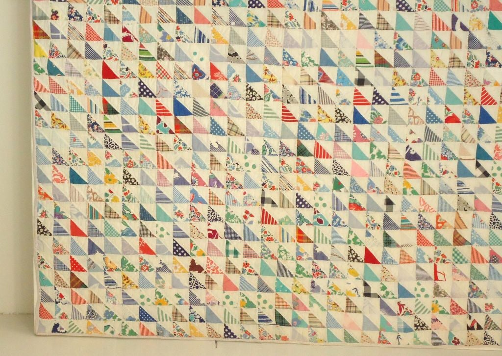American Mounted 1930s Mini Pieced Flying Geese Crib Quilt