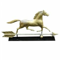 19thc Gilded Horse Weathervane On Arrow On Iron Mount