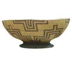 Fantastic 19thc Apache Indian Basket W/ Unusual Base