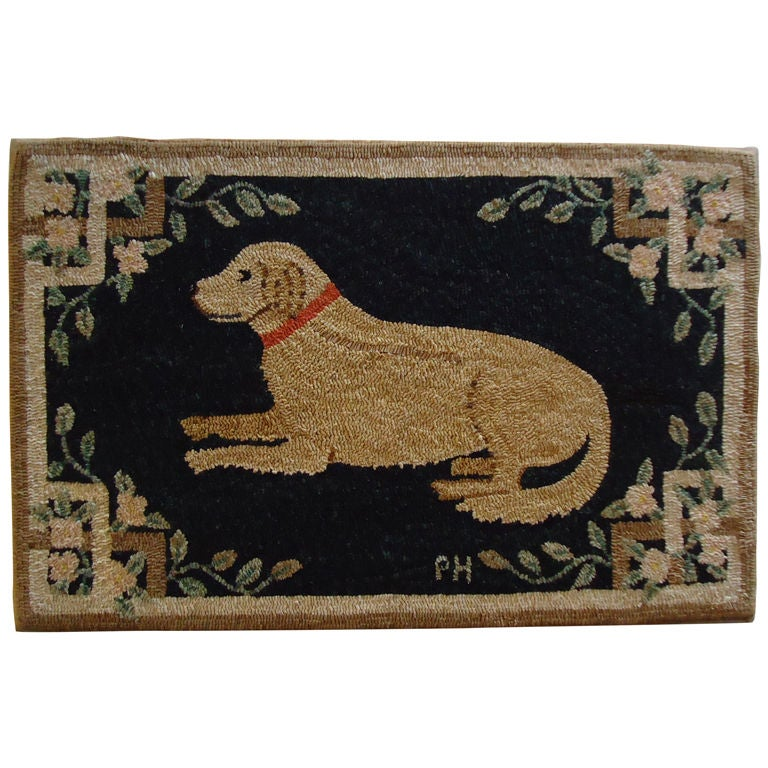 Fantastic Mounted Hand Hooked Dog Rug At 1stdibs