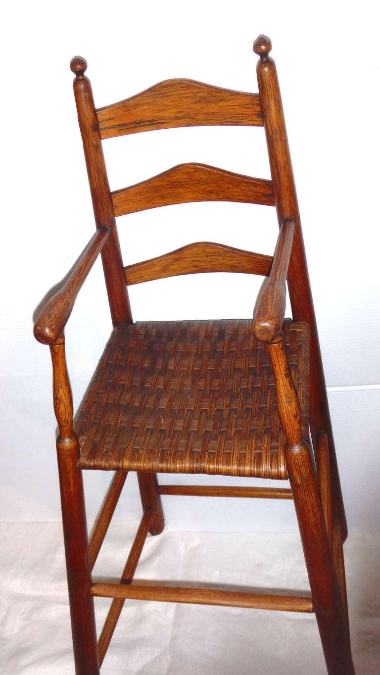 American Fantastic 19th Century Childs Ladderback Height Chair from New England For Sale