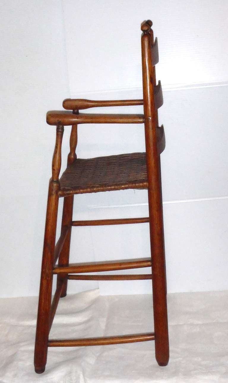 Fantastic 19th Century Childs Ladderback Height Chair from New England In Excellent Condition For Sale In Los Angeles, CA