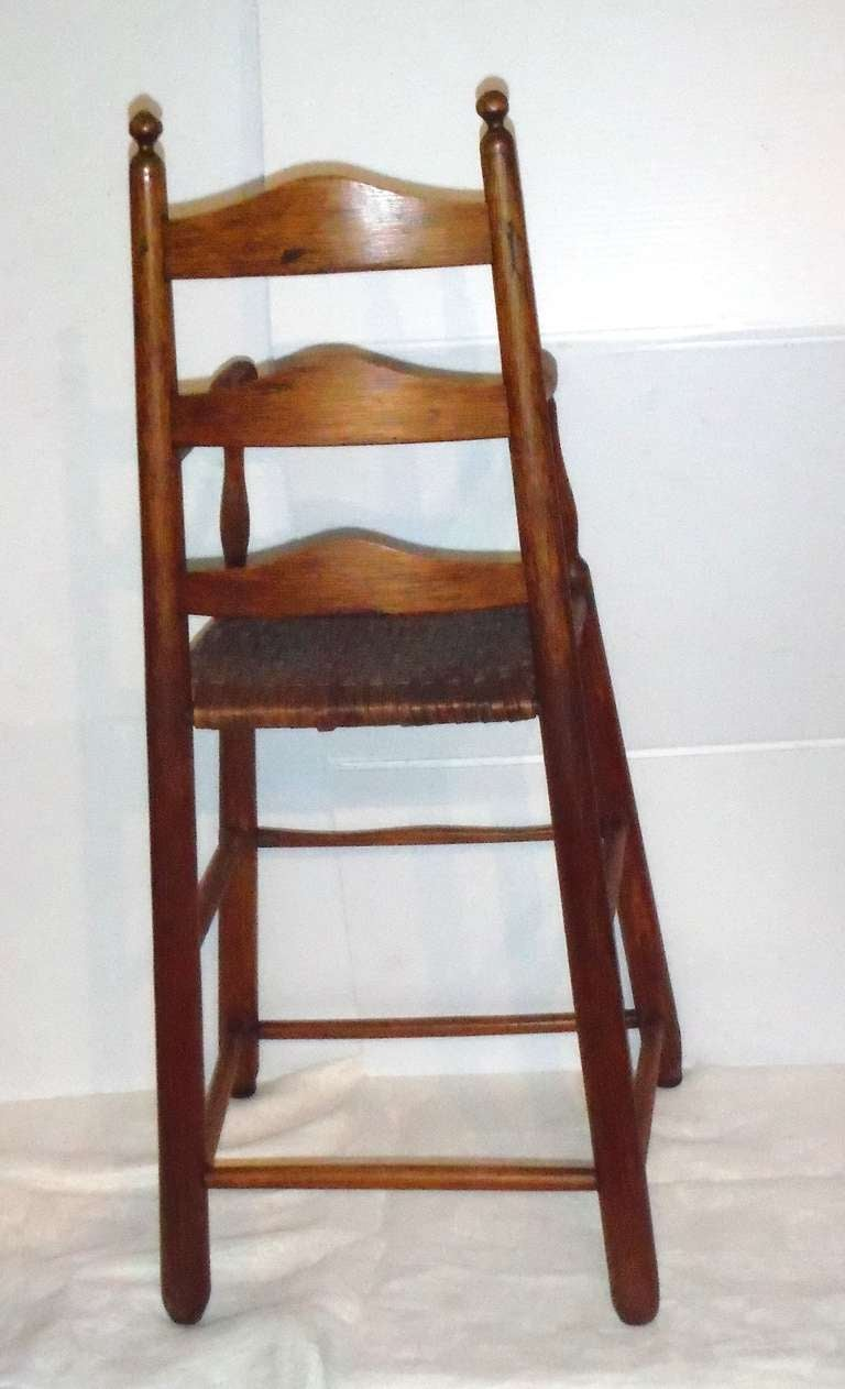 Hickory Fantastic 19th Century Childs Ladderback Height Chair from New England For Sale