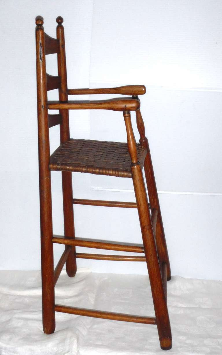 Fantastic 19th Century Childs Ladderback Height Chair from New England For Sale 1