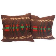Wool Early Pendleton Indian Design Camp Blanket  Pillows,Pair