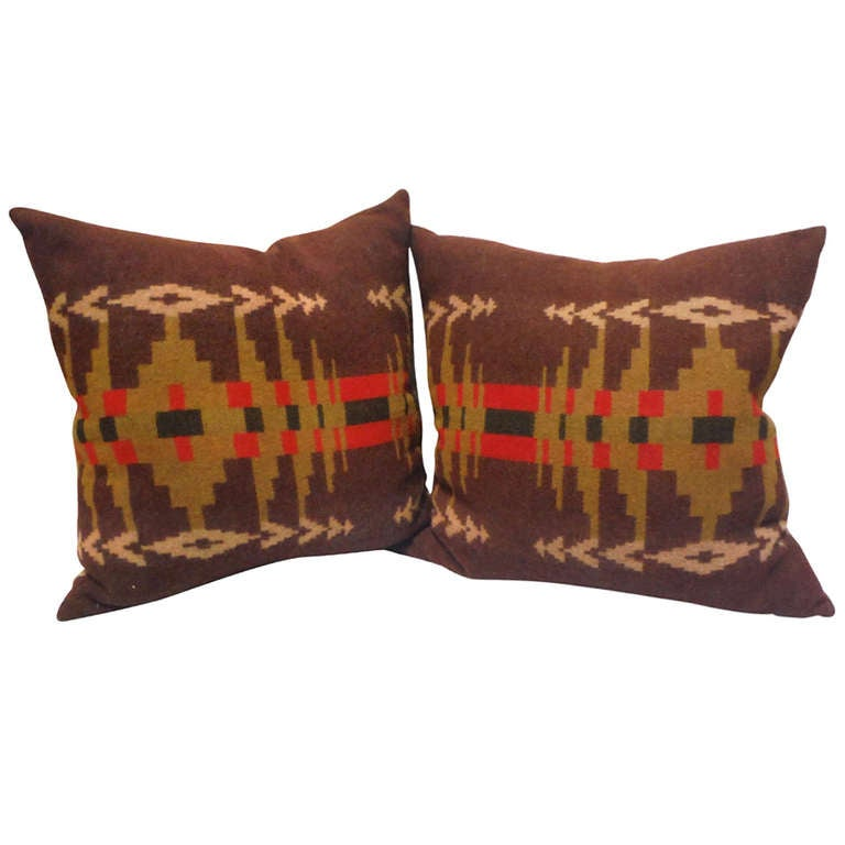 Early wool pendleton indian design camp blanket pillows for Native american furniture designs