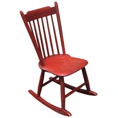 19th Century Original Salmon Painted Windsor Rocking Chair